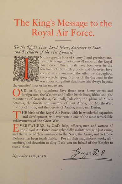The king's message to the royal air force 1918